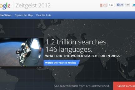 Google 2012时代精神大盘点:平板为王 手机第二,中国区好声音、伦敦奥运会、江南style排前三
