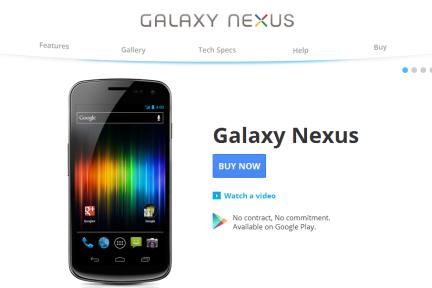 Google重新启动手机在线直销,用户可在Google Play商店直接购买Galaxy Nexus