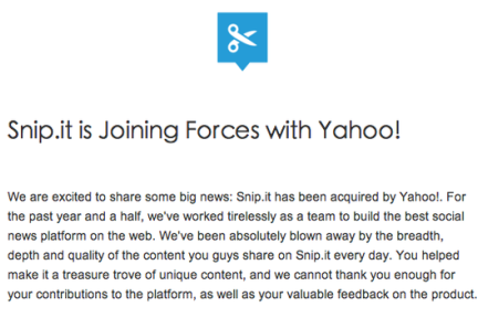 """更新:Yahoo以1000万美元""""人才收购""""了社会化书签收藏服务Snip.it"""