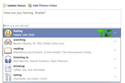 "Facebook创造性地将""全能表情""和用户状态结合,或拿用户状态更新来挣钱"