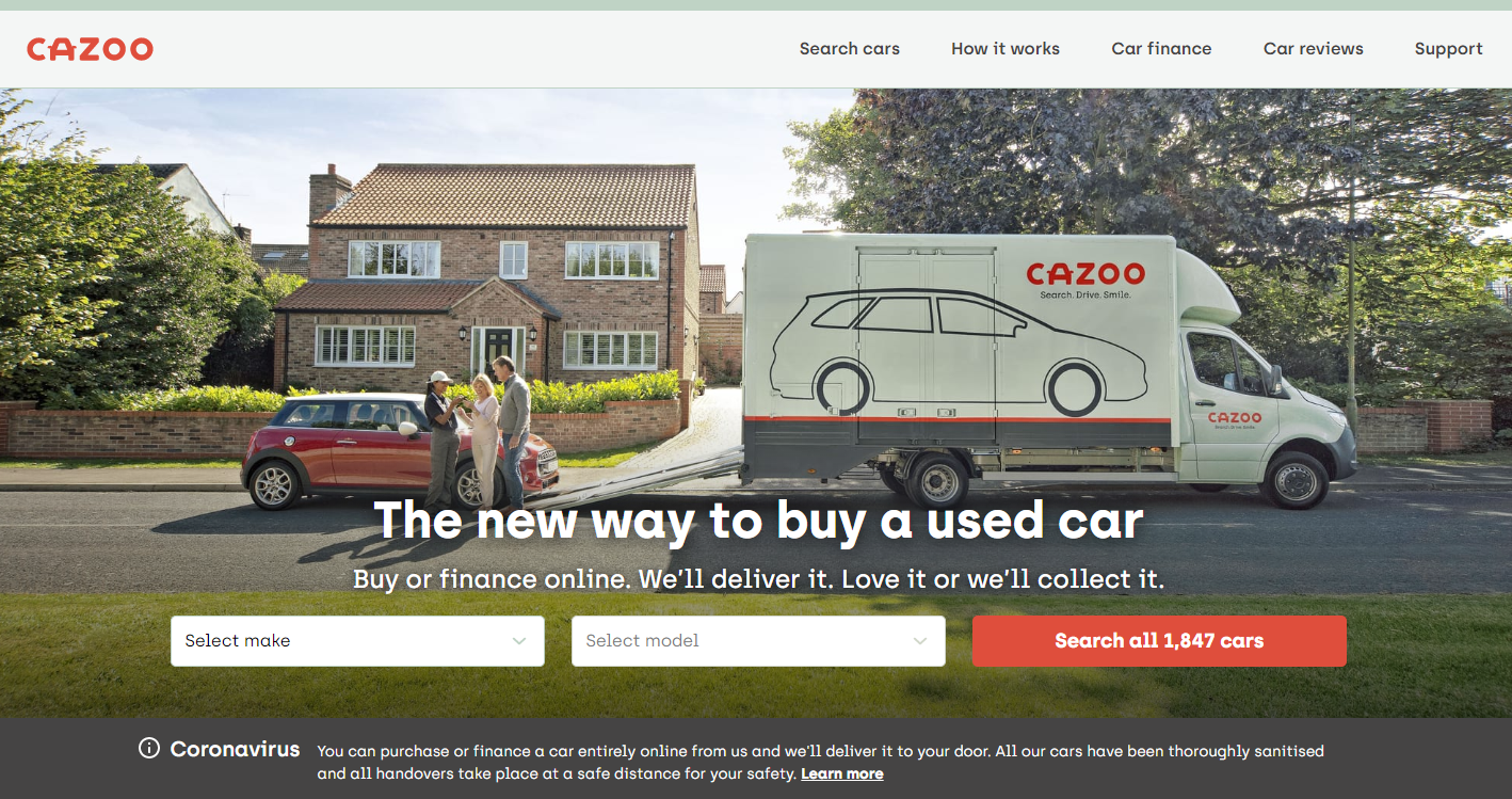 英国二手车平台「Cazoo」获 3125 万美元,以 10 亿美元估值跻身独角兽行列