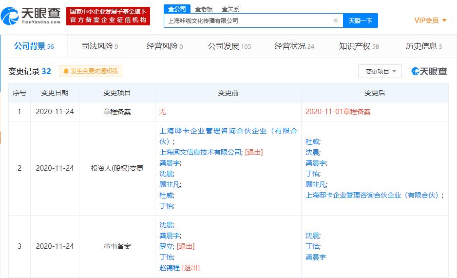 阅文集团关联公司退出动画制作公司咔咖文化股东,退出前持股30.34%