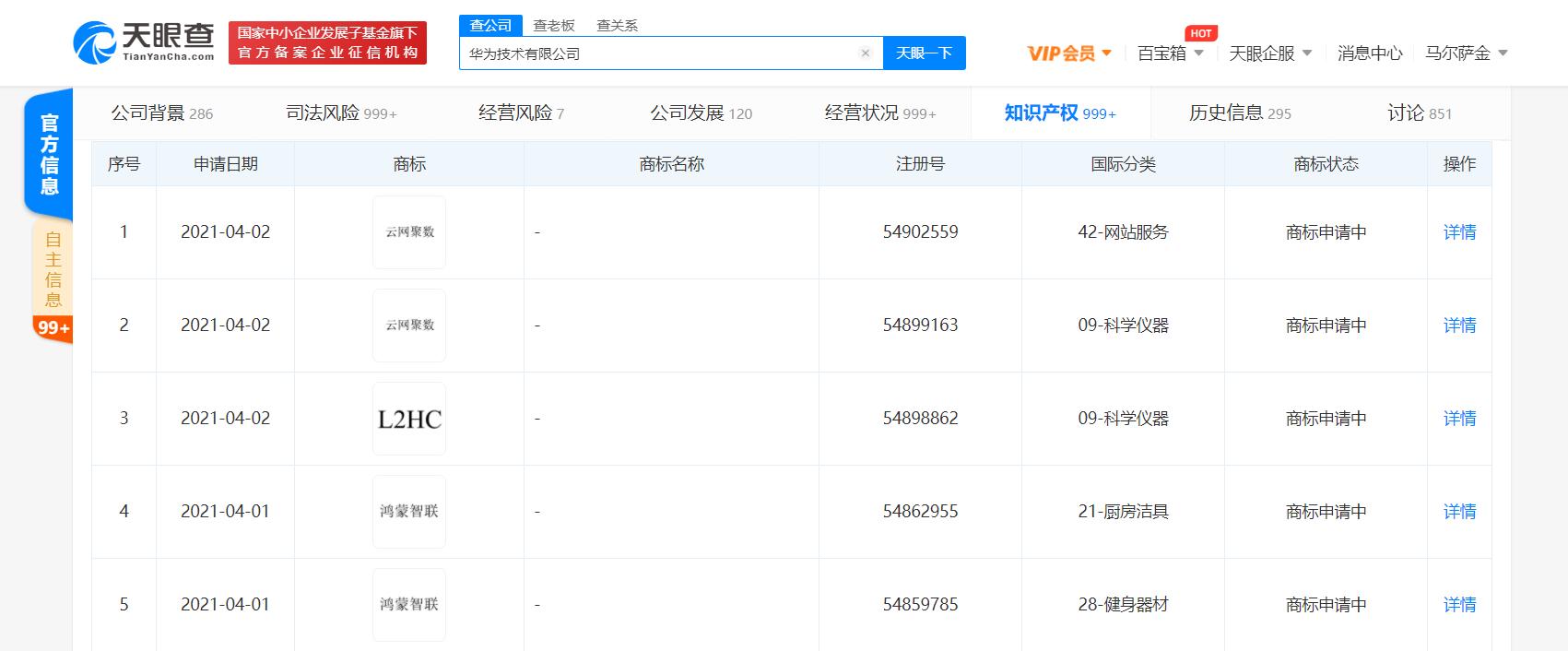 """华为技术有限公司申请注册""""云网聚数""""""""鸿蒙智联""""相关商标"""